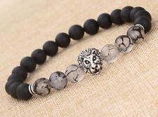 Fashion Men's Matte Agate Silver Lion Head Elastic Beaded Tibet Charm Bracelet