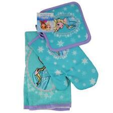 NEW Disney Frozen Elsa Blue 4 Piece Kitchen Set- Towel, Oven Mitt, 2 Pot Holders