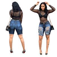 Fashion Women Ripped Pockets Zipper Bodycon Fifth Jeans Denim Pants Trousers
