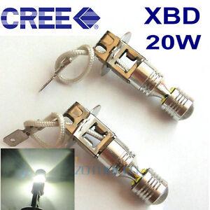 2 X 20W CREE LED bulbs H3 Fog Light Driving Lamps CANBUS Error Free Car Fog Bulb
