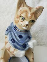 Vintage Large Louisville Stoneware Yummies Cat Bowl Food Feeder Pottery Retired