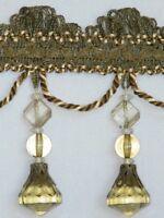 "4/"" Exquisite Tassel Fringe Bead Trim Olive Green Gold Per Yard"
