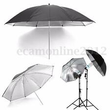 "43""110cm Black Silver Photo Studio Umbrella For Flash Lighting Reflector Softbox"