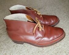Mens Chestnut Brown Leather Ankle Boots Fleece Lined Size UK 8.5 / EUR42
