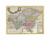 Map Antique Homann Heirs Austria Bohemia Czech Republic Art Canvas Print