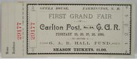 Original Civil War GAR First Grand Fair Unused Ticket 1890
