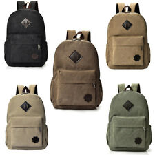 Men Women Vintage Canvas Backpack Rucksack School Satchel Travel Hiking Book Bag
