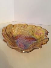 GLASS AMBER  CANDY DISH BOWL IRIDESCENT BERRY LEAVES