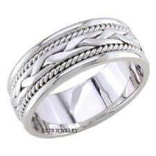 14K WHITE GOLD MENS WEDDING BAND RING BRAIDED 7MM