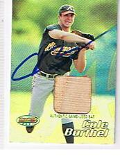 2002 BOWMANS BEST # 93 COLE BARTHEL GAME USED AUTOGRAPHED CARD . BRAVES