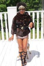 Excellent Designer O'Kean's dark brown Mink Fur Coat jacket Stroller S-M 0-6/8