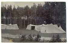 Russian WWI Air Force Base Airplanes Sheds Flag Real Photo