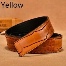 3.8CM Mens Genuine Leather Belts Crocodile Grain Waist Strap Belt Without Buckle