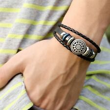 Mens Tribal Infinity Charm Wrap Woven Braided Beaded Leather Bracelet 20cm