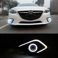 DRL LED Bar+COB Angel Eyes+HID Projector Lens Foglights Fit For Mazda 3 AXELA