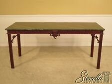 28728E: Chinese Chippendale Green Marble Top Mahogany Library Table
