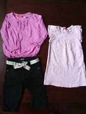 Lot t-shirt manches longues fuchsia + pantacourt noir + robe rose OKAOU 3 ans