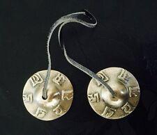 NEPAL TIBETAN BUDDHIST HINDU BRASS OM LETTERS TINGSHA  BELL MANJIRA CYMBALS (S)