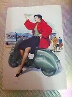 Rara Cartolina Vespa Piaggio Anni 50  Riproduzione Made in Italy da collezione