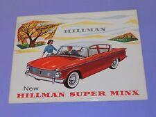 *  1960's  *  HILLMAN SUPER MINX * 6 PAGE FOLDOUT ENGLISH SALES BROCHURE *