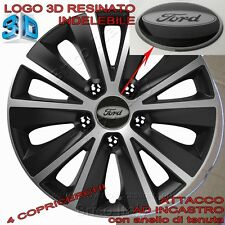 "4 Copricerchi Calotte Raptor 15"" Logo Resinato 3D FORD  Fiesta Mondeo Focus KA"