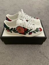 Gucci Women's Ace Leather Floral Sneakers Size 38 New