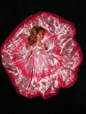 Vintage Fair Ground Doll With Red Dress with lace - Open Shut Eyes doll