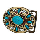 """Western Native American Belt Buckle Turquoise Stone Indian Snap On 2.93 x 2.5"""""""