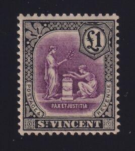 St. Vincent Sc #131 (1928) £1 black & violet Peace & Justice Mint VF H