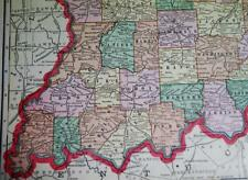 STATE OF INDIANA ATLAS MAP PAGE PLATE 1908 VINTAGE GEORGE F. CRAM PUBLISHER