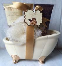 3 TEILE IN CERAMICA vasca da bagno Set regalo Gel Doccia Crema Corpo Spugna