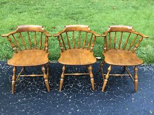 Vintage Mid Century Pennsylvania House Barrel Back Captains Chairs- Set of 3