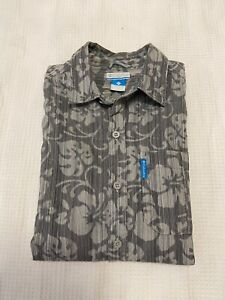 Columbia Mens Button Up Short Sleeve Hibiscus Print Shirt ~ Size S