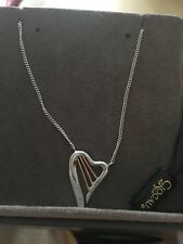 Clogau Gold Heartstrings Necklace Sterling Silver 9ct Gold Harp Valentines