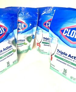 Four (4) CLOROX Triple Action Dishwashing Detergent Fresh Scent 64 Tablets