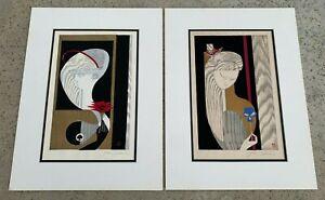 A PAIR OF ORIGINAL WOODBLOCK PRINT TWO(2) BY SEKINO JUNICHIRO ; BOY & GIRL. 1959