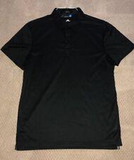 J.Lindeberg Black Lightweight Polo Shirt Men's Regular Fit Large
