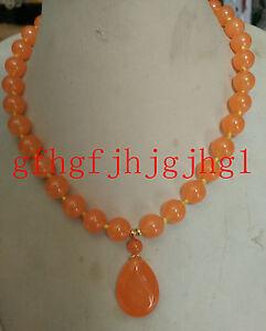 10mm Orange jade Round Gemstone (Orange jade Pendant 18x25mm) Necklace 18''