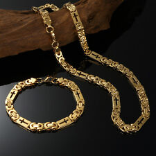 """Mens Stainless Steel Cross Necklace Chain 18K Gold Filled Bracelet 24""""x8mm"""