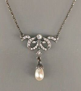 9901328 925er Silber Jugendstil-Collier Schleife Swarovskisteine Zuchtperle