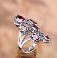 I03 Vintage Ring Silber 925 mit roten Kristallen und Markasit größenverstellbar