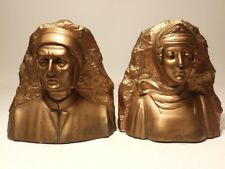 Set Antique/Art Deco Jennings Brothers #2435 Dante/Beatrice Man/Woman Bookends