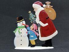 """ARTIST WILHELM SCHWEIZER GERMAN ZINNFIGUREN Santa with Snowman (3.25""""x 3.5"""")"""