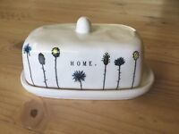 "Rae Dunn ""HOME"" Floral Covered Butter Dish New ARTISAN COLLECTION By Magenta"
