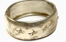 "Antique Victorian Silver Engraved Birds "" SWALLOWS "" Wide Bangle / Bracelet"