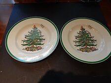 Spode Christmas Tree pattern Pair of Dinner plates 10.75""