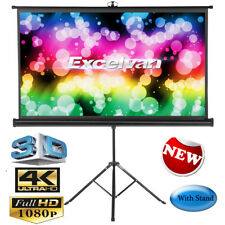 "100"" HD Tripod Stand Pull up Projector Screen 16 9 White Matte 3d Home Cinema UK"