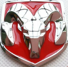 Dodge Hood Grille Red Logo Chrome 3D Vehicle Emblem Decal Sticker Vehicle