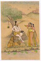 Indian Sadhu Miniature Painting Watercolor Holy Man Handmade Painting Wall Decor