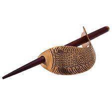 Fish Designer Gold  Tone Wooden Clip Stick Women Indian Hair Bun Pin Accessory